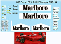 1/20 MARLBORO FERRARI SPONSOR F310B 1997 MICHAEL SCHUMACHER DECALS TB DECAL TBD143