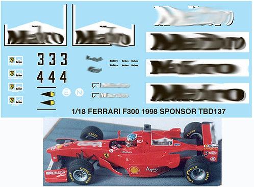 1/18 FERRARI F300 1998 SPONSOR SCHUMACHER TBD137