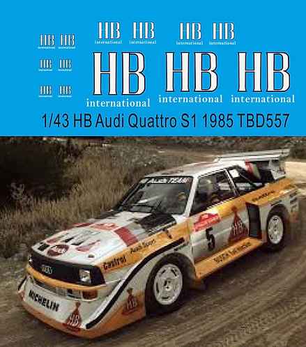 1/43 HB Decals for AUDI SPORT QUATTRO S1 1985 Decal TBD557