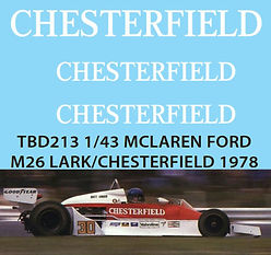1/43 CHESTERFIELD SPONSOR  MCLAREN FORD M26 LARK 1978 DECALS TB DECAL TBD213