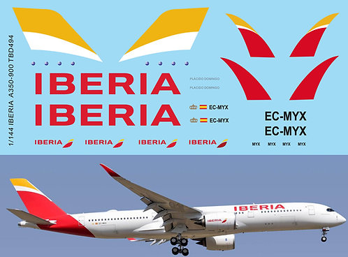1/144 Decals x Airbus A350 - 900 IBERIA  airlines livery TB  Decal TBD494