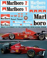 1/18 MARLBORO FERRARI F310 1996 SCHUMACHER IRVINE  SPONSOR DECALS TBDECALS TBD222
