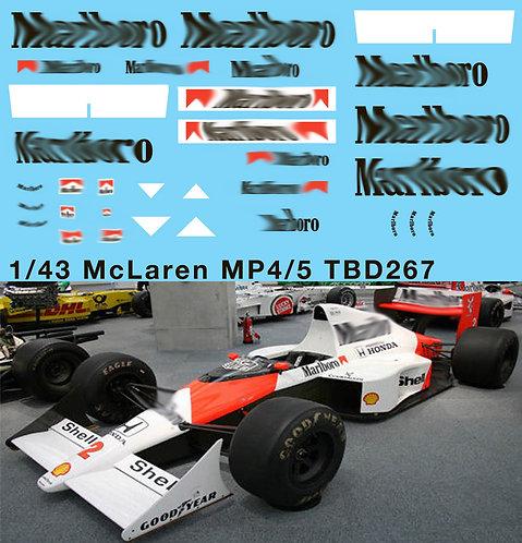 1/43 McLaren Honda MP4/5 F1 Ayrton Senna 1989 Decals TB Decal TBD267