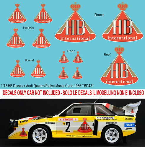 1/18 Audi Quattro S1 Rally Monte Carlo 1986 1/18 HB Decals TB DECAL TBD431