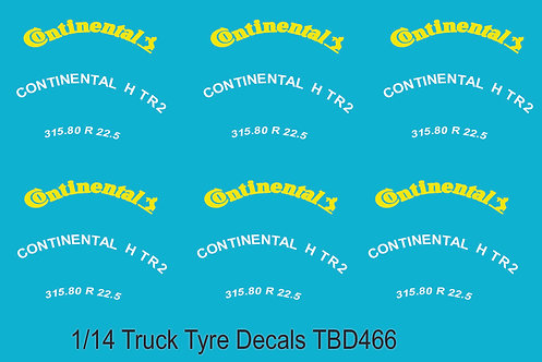 1/14 Continental Yellow Tire Decals for Trucks   Tyre Pneumatici  Lorry TBD466