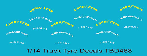 1/14 GoodYear Yellow Tire Decals for Trucks   Tyre Pneumatici  Lorry TBD468