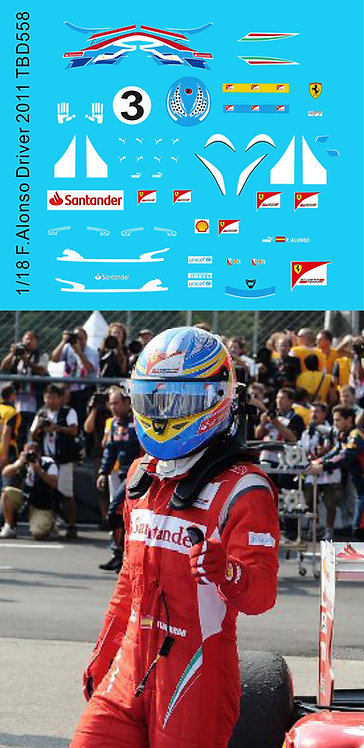 1/18 Decals F1 Figure Driver + Helmet Fernando Alonso 2011 Decal TBD558
