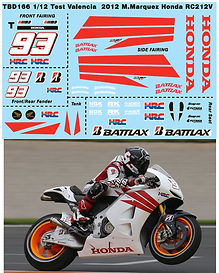 1/12 MARQUEZ TEST MOTOGP VALENCIA  2012 2013 HONDA RC213V DECALS TB DECAL TBD166