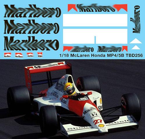 1/18 McLaren Honda MP4/5B F1 Ayrton Senna A. Prost  Decals TB Decal TBD256