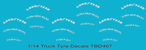 1/14 GoodYear Tire Decals for Trucks   Tyre Pneumatici  Lorry Camion TBD467