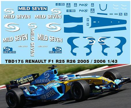 1/43 RENAULT F1 R24 R25 R26 2005 2006 DECALS  TBD175