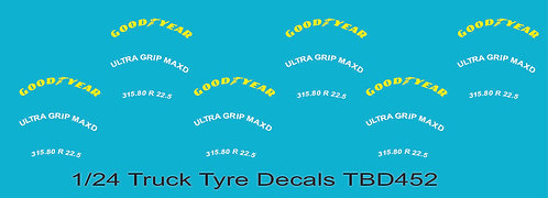 1/24 GoodYear Yellow Tire Decals for Trucks  ( Tyre Pneumatici  Lorry TBD452
