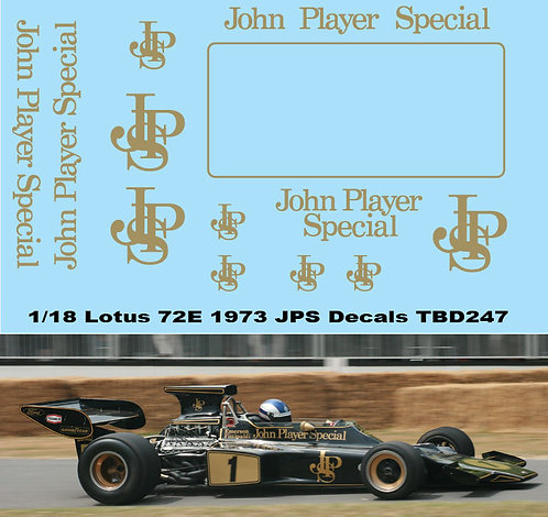 1/18 Lotus 72E 1972 1973 John Player Special Decals TB Decal TBD247