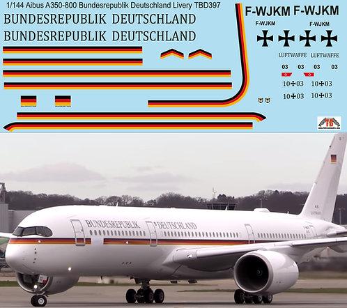 1/144 Airbus A350 Bundesrepublik Deutschland Decals TB Decal TBD397