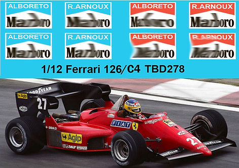 1/12 Ferrari 126/C4  1984 Alboreto Arnoux Logo ( for MFH  Hiro Kit) TBD278
