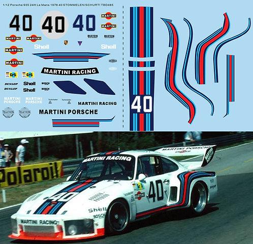 1/12 Decals Porsche 935 24H Le Mans 1976 Martini 40 STOMMELEN/SCHURTI TBD485