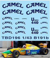 1/43 CAMEL   FORD SPONSOR DECALS FOR  BENETTON B191B 1992 DECALS TBDECAL TBD196