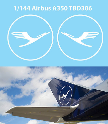 1/144 DECALS NEW  LUFTHANSA TAIL LOGO AIRBUS A350 DECAL TBD306