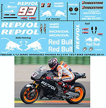 1/12 MARQUEZ TEST MOTOGP SEPANG 2014 2015  HONDA RC215V DECALS TB DECAL TBD208