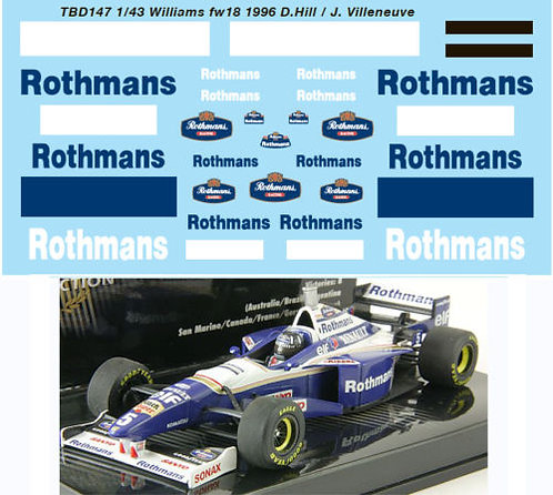1/43 WILLIAMS RENAULT FW18 1996 DECALS TBD147