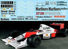 1/20 MARLBORO McLaren MP4/5B FULL TAMIYA  AYRTON SENNA BERGER DECALS TB DECAL TBD67