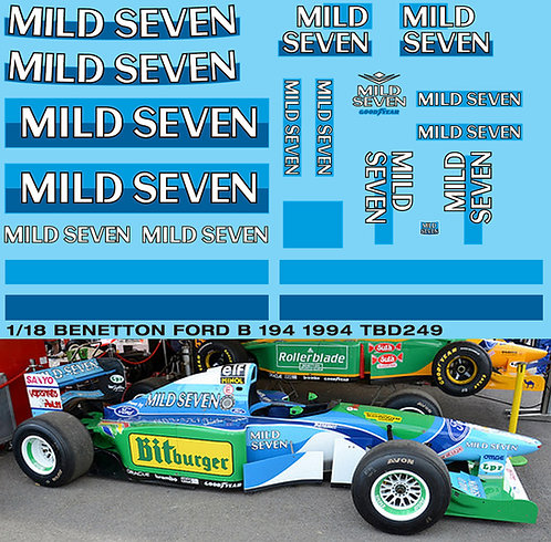 1/18 Benetton Ford B194 1994 Sponsor Decals TB Decal TBD249