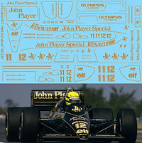 1/20 JOHN PLAYER SPECIAL LOTUS 97T 1985 FULL  SET AYRTON SENNA  DECALS TB DECALTBD230