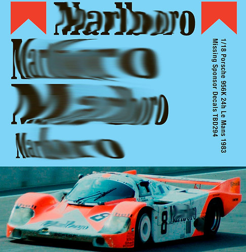 Porsche 956 24h Le Mans 1983 Missing  Sponsor Decals TBD294