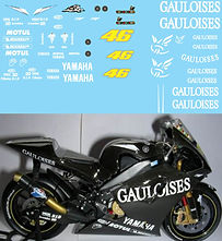 1/12 GAULOISES VALENTINO ROSSI TEST BIKE YAMAHA M1 2004 DECALS TB DECAL TBD95
