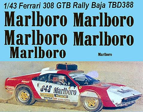 1/43 Ferrari 308 GTB Rally Baja Aragon 1985 A.Zanini  DECALS TB DECAL TBD388