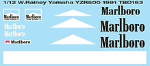 1/12 MARLBORO WAYNE RAINEY YAMAHA YZR500 1991 DECALS TB DECAL TBD163