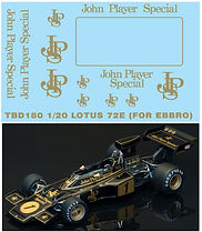 1/20 JOHN PLAYER SPECIAL LOTUS 72E JPS SPONSOR DECALS DECALS TB DECAL TBD180