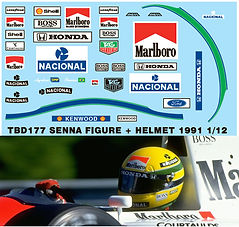 1/12 MARLBORO AYRTON SENNA DRIVER FIGURE 1991 MP4/6 DECALS TBDECAL TBD177