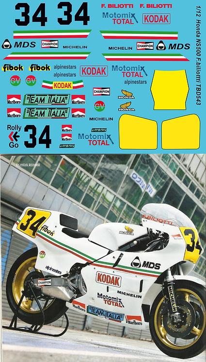 1/12  Decals Honda NS500 Team Italia F. Biliotti Decal TBD543