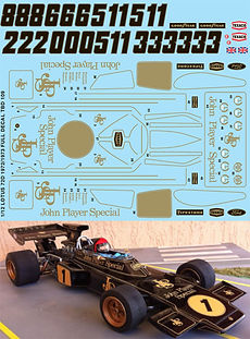 1/12 JOHN PLAYER SPECIAL F1 LOTUS 72D 1972 1973 TAMIYA FULL JPS DECALS TB DECAL TBD109