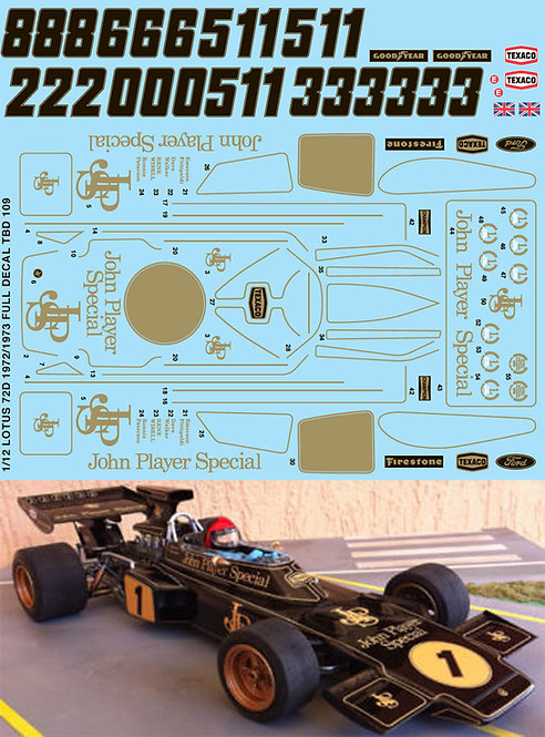 1/12 F1 LOTUS 72D 1972 1973 TAMIYA  DECALS TBD109