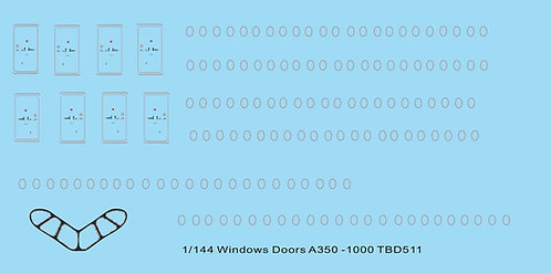 1/144 Windows Doors Airbus A350 100 Decals  TB Decal TBD511