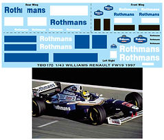 1/43 ROTHMANS FW19 1997 SPONSOR WILLIAMS RENAULT DECALS TB DECAL TBD170