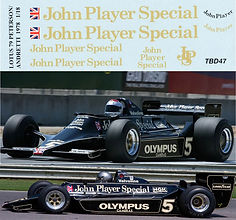 1/18  JOHN PLAYER SPECIAL LOTUS FORD 79 1978 PETERSON MARIO ANDRETTI DECALS TB DECAL TBD47