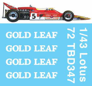 1/43  F1  Lotus 72E GOLD LEAF 1970 DECALS Jochen Rindt TB DECAL TBD347