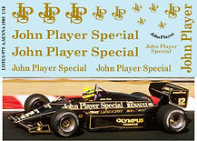 1/18 JOHN PLAYER SPECIAL LOTUS 97T AYRTON SENNA JPS SPONSOR  1985 DECALS TB DECAL TBD50