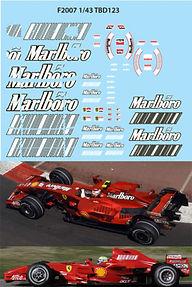 1/43 MARLBORO FERRARI F1 F2007 F 2007 SPONSOR RAIKKONEN MASSA DECALS TB DECAL TBD123