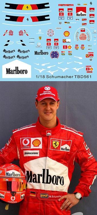 1/18 Decals Schumacher F1 Helmet + Figure Ferrari Driver Decal TBD561