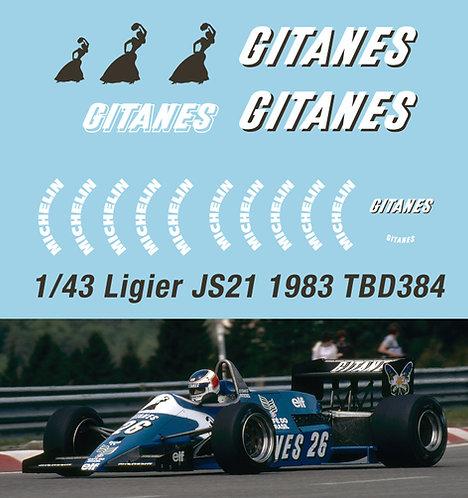 1/43 F1 Ligier JS21 GITANES 1983 Decals TB Decal TBD384