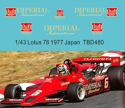 1/43 Imperial Decals for Lotus 78 1977 G.Nilson TB Decal TBD480