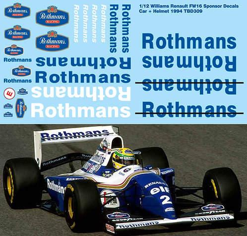 1/12 DECALS WILLIAMS RENAULT FW16 1994  + HELMET LOGO DECAL TBD309