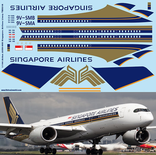 1/144 AIRBUS A350 900 SINGAPORE AIRLINES DECALS FOR REVELL KIT  TB DECAL TBD316