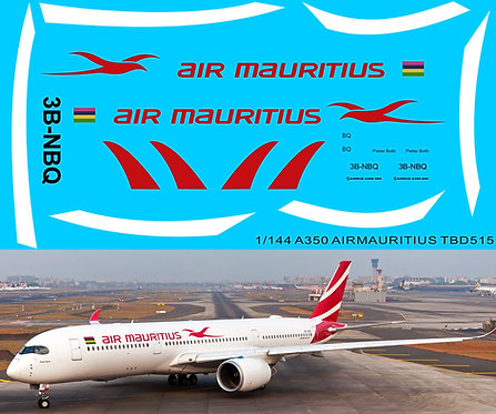 1/144 DECALS AIRBUS A350  AIR MAURITIUS LIVERY TB DECAL TBD515