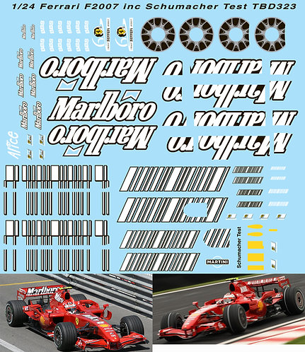 1/24 FERRARI F1 F2007 FOR REVELL  Inc Schumacher Test F 2007 SPONSOR  DECALS TB