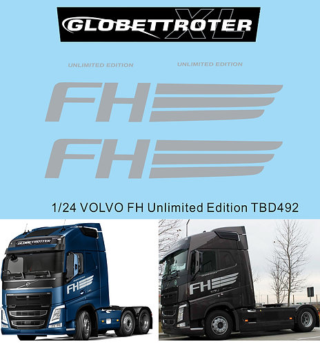 1/24 Decals X VOLVO FH Globetrotter Unlimited Edition TB Decal  TBD492